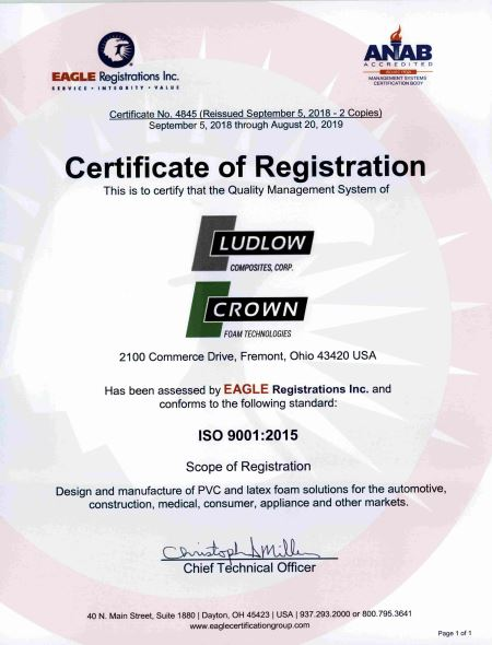 ISO Certificate of Registration for Ludlow Composites and Crown Foam Technologies
